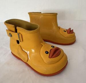 Mini Melissa Duck Rain Boots Unisex Size 9 Toddler Yellow Girls Boys