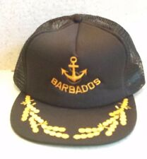 Vintage Black Barbados Baseball Hat YELLOW ANCHOR Snapback Trucker Mesh Cap 80's