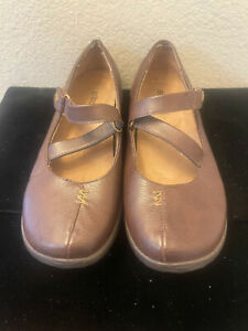 Orthaheel Myla Brown Leather Mary Jane Flats Shoes Size 5