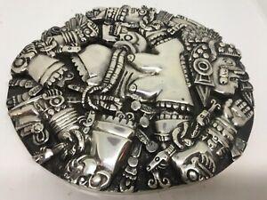 Vintage Unusual solid white metal South American Inca wall plaque sculpture art