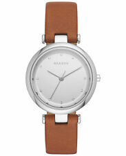 BRAND NEW SKAGEN SKW2458 TANJA BROWN LEATHER BAND SILVER GLITZ DIAL WOMENS WATCH