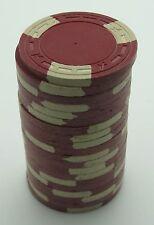 """Set of 20 ASM Casino Style """"A"""" Mold Clay Chips Dk-Red/Cream Inserts FREE SHIP"""