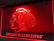 "Chicago Blackhawks Led Sign 12"" x 8"" On/Off Switch mancave bar pub"