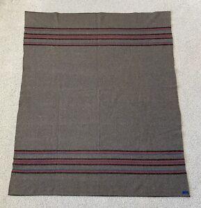 Vtg 40's 50's Pendleton Grey Wool Camp Blanket Trade Stripe Antique Beaver State