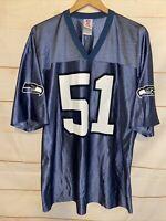 Men's SEATTLE SEAHAWKS NFL Jersey Lofa Tatupu 51 Shirt Blue White XL Extra Large