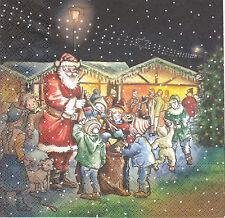 2 Serviettes en papier Père Noël Cadeaux Decoupage Paper Napkins Santa Presents