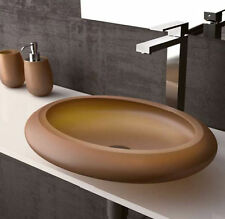 NEW Ceramic Wash Basin Sink Bowl Bathroom Vanity Above Counter Italy Oval Stone
