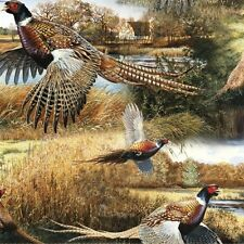 Wild Wings Feathered Run Pheasants Pheasant Families Cotton Fabric Fat Quarter