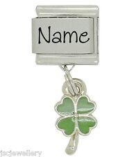 Custom made LUCKY SHAMROCK name - Daisy charm for classic size bracelet