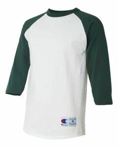 Champion Raglan Baseball Shirt Jersey Mens Tag-less T-Shirt 3/4 Sleeves NEW T137