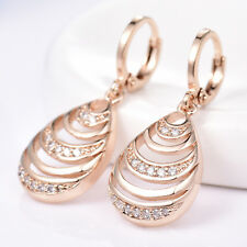 Dangle Hollow Shell 18K Gold Filled Crystal Rhinestone Women Lady Hoop Earrings