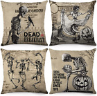 Vintage Halloween Pillow Covers 18x18 Inch Set of 4 Skull Throw Pillowcase NEW