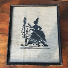 ANTIQUE CROSS STITCH EMBROIDERY SPINNING WHEEL VICTORIAN LADY ON MESH FRAMED