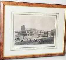 Antique Vintage Print Art Framed Lithograph Roman Colosseum Benoist 1870 RL906