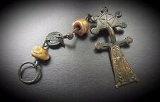 GOTHIC RADIATE HEADED BOW BROOCH WITH ROMAN BEADS & COIN AMULET 5TH - 6TH A.D