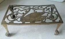 More details for antique / vintage teapot / kettle brass trivet - swan design -10 x 5 1/2 x 4 inc