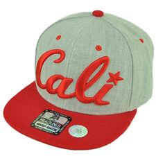 Cali California Republic 3D Snapback Flat Bill Hat Cap Two Tone Heather Red