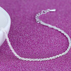 HOT Women 925 Silver Twisted Rope Twine Chain Bracelet Bangle Cuff Jewelry Gift