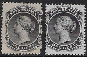 Canada, Nova Scotia 1860 1¢Black, Sc #8/ 8a, Yellow & white papers, MNH CV$37.50