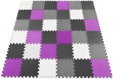 40pc Soft Foam EVA Floor Tiles Jigsaw Interlocking Mats Black Grey White Purple