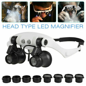 Headband Head Magnifier 8 Lens LED Light Jeweler Loupe Magnifying Glasses kit US