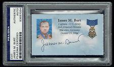 James Burt (d. 2006) signed autograph auto 2x3.5 cut MOH Army WWII PSA Slabbed