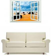 Window Scene Red Beach Wall Art Sticker Free Postage tropical Travel Beach scene
