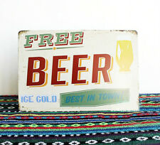 Vintage Tin Sign Wall Decor Metal Art Bar Pub Poster Welcome Beer Sold Free Cold