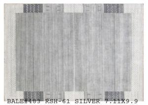 Gray Perfect Condition Handmade 8x10 Wool Blend Modern Rug Contemporary Carpet