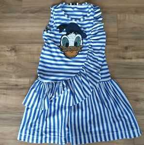 MONNALISA, Disney, age 8 yrs, sequined Donald duck, blue and white striped dress