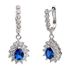 Women Drop Earrings 925 Sterling Silver Sapphire Blue CZ Level Back Piercing