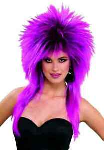 Purple Pizazz Spiked Wig Super Rock Star 80s Adult Costume Accessory Punk New