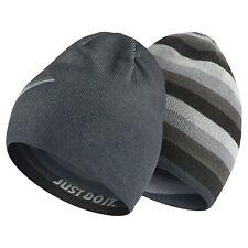 Nike Kids Reversible Knit Beanie Hat Cap - Black Grey Stripes Solid