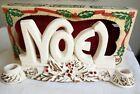 Vintage Christmas Chalkware Noel Candleholder-Original Box-Campana Original