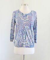 Talbots Blue Pastel Paisley Print Cotton Cardigan Sweater Size S Pink Purple