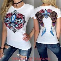 VOCAL Womens Stone Embellished Fleur-de-lis Graphic Biker Short Sleeve Top Shirt