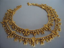 Gold plated stone studded anklets payal (length 10.5 inches, 10 mm wide)