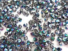 24 Scarabaeus Green Swarovski Crystal Beads Bicone 5328 4mm