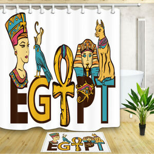 Ancient Egypt Pharaoh Ankh Shower Curtain Bathroom Waterproof Polyester 71inch