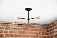 Matte Black And Copper Mid century modern brass semi flush mount sputnik light