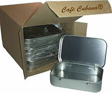 Cafe Cubano Rectangular Empty Hinged Tin Box Containers With Solid Top. Bulk...