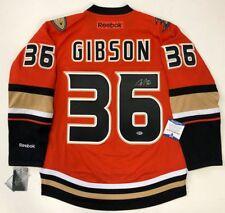500288827 JOHN GIBSON SIGNED ANAHEIM DUCKS RBK PREMIER ORANGE JERSEY BECKETT COA