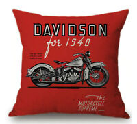 Vintage Motorcycle Pillow Case Motorbike Cushion Cover 45x45cm Throw Pillow Case
