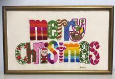 Completed 1978 Sunset Needlepoint Kit Merry Christmas Letter Sampler Santa Frame
