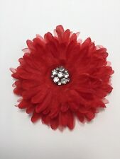 "Red Mum Flower Hair Pin or Lapel Brooch Clip For Party Red Hat Society 5"" Dia"