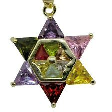 Necklace - Star of David with multicolored zircon stones