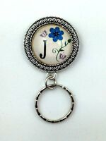 Forget-Me-Not Monogram  Magnetic ID Badge Eyeglass Holder, Magnetic Pin Brooch