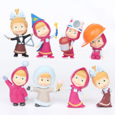 Lot of 8 pcs Masha And The Bear Action Figure Cute Doll Cake Topper Play set Toy