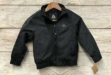 Reebok Jacket Boys Size 5/6 Black Fleece Lined Windbreaker Coat $78 Retail New