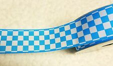 """New 1.5""""  Wired Ribbon Blue Check  2 Yards"""